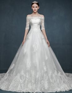 Winter Bridal Kant Temperament Elegante Lange Trailing Trouwjurk