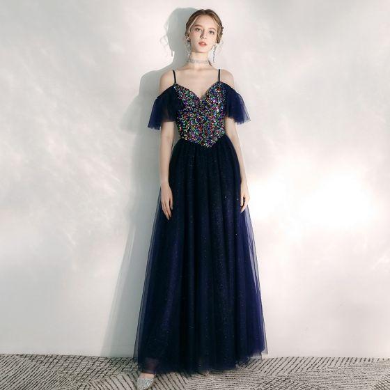 Chic / Belle Bleu Marine Robe De Soirée 2020 Princesse Bretelles Spaghetti Manches Courtes Paillettes Glitter Tulle Longue Volants Dos Nu Robe De Ceremonie
