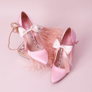 Lovely Candy Pink Wedding Shoes 2019 Bow Rhinestone T-Strap 9 cm Stiletto Heels Pointed Toe Wedding Pumps