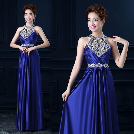 Sparkly 2017 Royal Blue Evening Dresses  Sequins Strapless Backless A-Line / Princess Evening Party