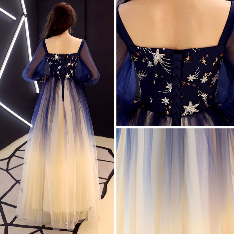 Elegant Navy Blue Gradient-Color Prom Dresses 2019 A-Line / Princess Square Neckline Puffy 3/4 Sleeve Sequins Floor-Length / Long Ruffle Backless Formal Dresses