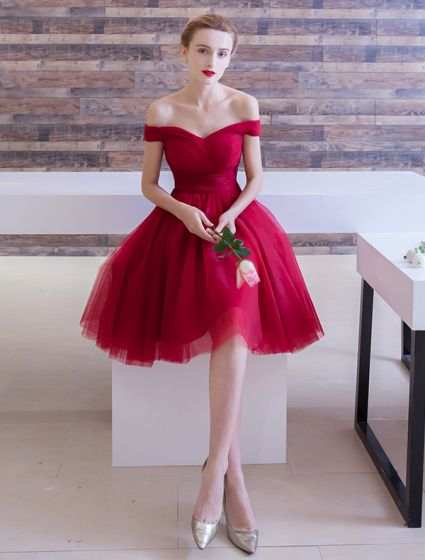 Elegant Party Dress 2016 Off The Shoulder Ruffle Tulle Knee Length Short Burgundy Cocktail Dress