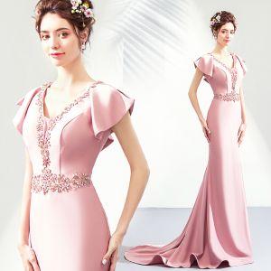 Chic / Belle Rougissant Rose Robe De Soirée 2019 Trompette / Sirène V-Cou Cristal Faux Diamant Manches Courtes Dos Nu Longue Robe De Ceremonie