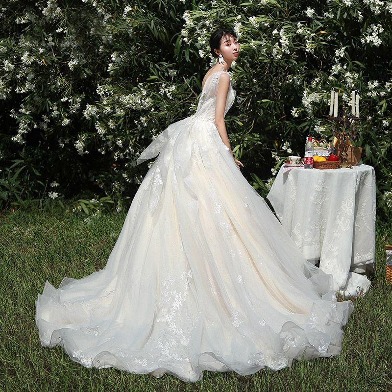 High-end Champagne Wedding Dresses 2019 A-Line / Princess V-Neck Beading Sequins Lace Flower Sleeveless Backless Chapel Train