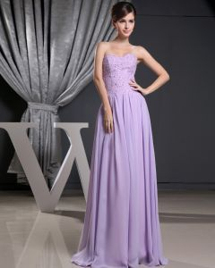 Fashion Chiffon Charmeuse Silk Beaded Pleated Strapless Floor Length Sleeveless Women Evening Dress