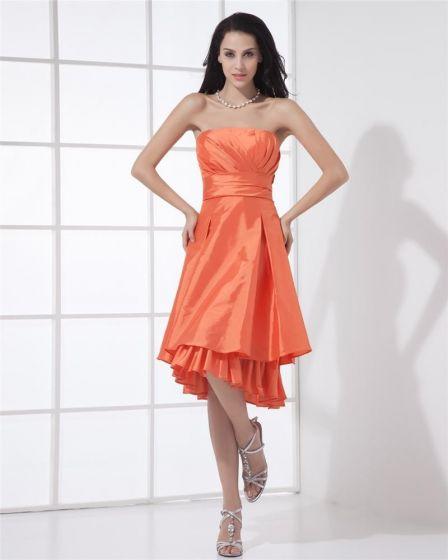 Elegant En Line Axelbandslos Knalang Taft Festklänning Festklänningar