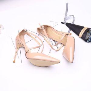 Sencillos Nude Noche Zapatos De Mujer 2019 Cuero Correa Del Tobillo 11 cm Stilettos / Tacones De Aguja Punta Estrecha High Heels