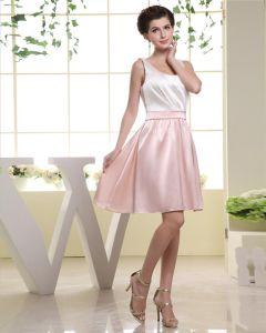 Plisa Wokol Szyi, Rekawow, Długosc Uda Charmeuse Kobieta-line Tanie Sukienki Koktajlowe Sukienki Wizytowe