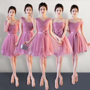 Affordable Candy Pink Bridesmaid Dresses 2018 A-Line / Princess Bow Sash Short Ruffle Backless Wedding Party Dresses
