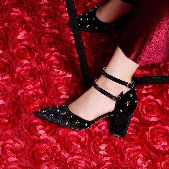 Modern / Fashion Black 7 cm High Heels 2019 Pointed Toe Summer Cocktail Party Evening Party Leather Beading Rivet Strappy Womens Shoes