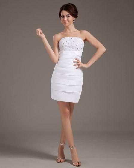 vestidos de novia vestido de boda corto de satén sin tirantes de la