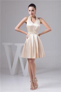 Charming Halter V Neck Crystal Sash Short Cocktail Dress Simple Party Dress