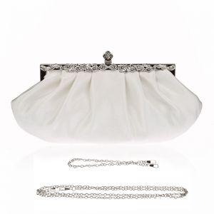 Chic / Beautiful White Clutch Bags Beading Rhinestone Velour Metal Cocktail Party Evening Party Accessories 2019