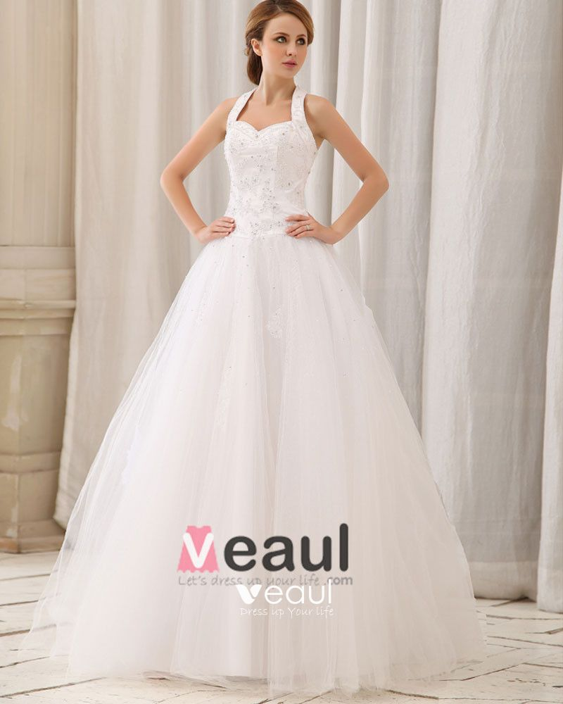 Elegant Solid Applique Beading Paillette A-Line Halter Back Zipper Court Train Satin Wedding Dress