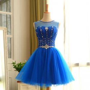 Chic / Beautiful Royal Blue Cocktail Dresses 2019 A-Line / Princess Scoop Neck Crystal Rhinestone Sleeveless Backless Short Formal Dresses