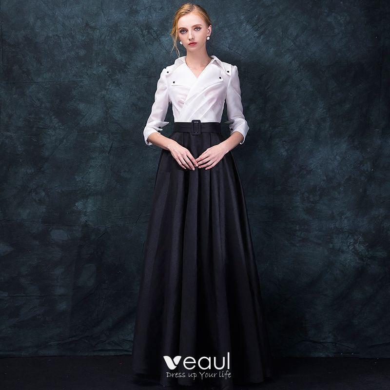 Unique Vintage Schwarz Weiss Abendkleider 2018 Empire V Ausschnitt 3
