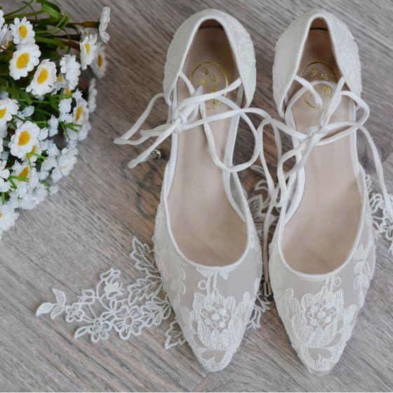 High End Ivory / Creme Handgefertigt Brautschuhe 2020 Leder Tülle Spitze Blumen 8 cm Stilettos Spitzschuh Hochzeit Hochhackige