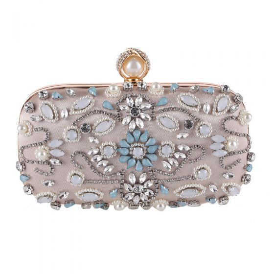 Chic / Beautiful Beige Square Clutch Bags 2020 Metal Pearl Rhinestone