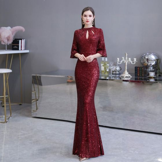 Sparkly Burgundy Sequins Evening Dresses  2020 Trumpet / Mermaid High Neck 3/4 Sleeve Bell sleeves Floor-Length / Long Ruffle Formal Dresses