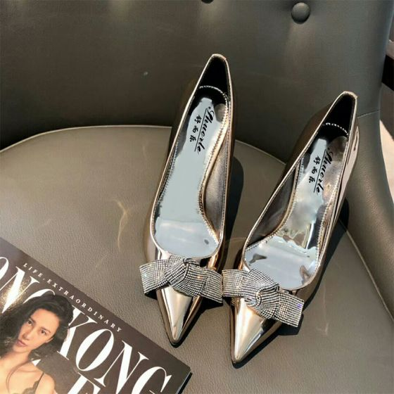 Moderne / Mode Argenté Soirée Escarpins 2019 Faux Diamant Noeud 10 cm Talons Aiguilles À Bout Pointu Escarpins