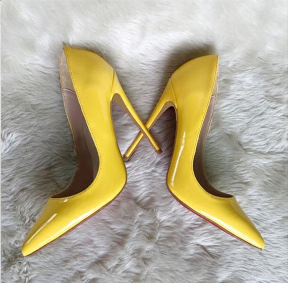 Piękne Żółta Biuro OL Skóry Lakierowanej Czółenka 2020 12 cm Szpilki Szpiczaste Czółenka