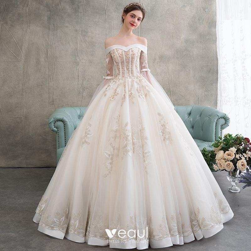 Elegantes Champán Vestidos De Novia 2018 Ball Gown Apliques Con Encaje Rebordear Perla Fuera Del Hombro Sin Espalda Manga Larga Largos Boda