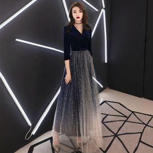 Elegante Marineblau Abendkleider 2019 A Linie V-Ausschnitt Wildleder Star Schleife 3/4 Ärmel Lange Festliche Kleider