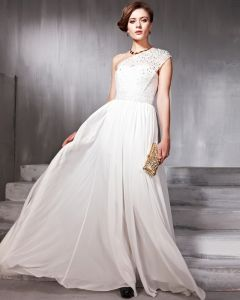 Lace Sequins Chiffon Charmeuse Beading One Shoulder Floor Length Evening Dresses