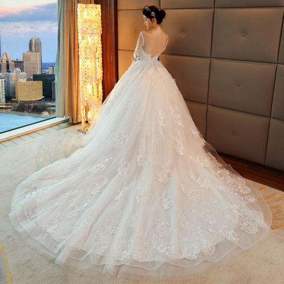 Chic / Beautiful White Pierced Wedding Dresses 2017 Ball Gown Scoop ...