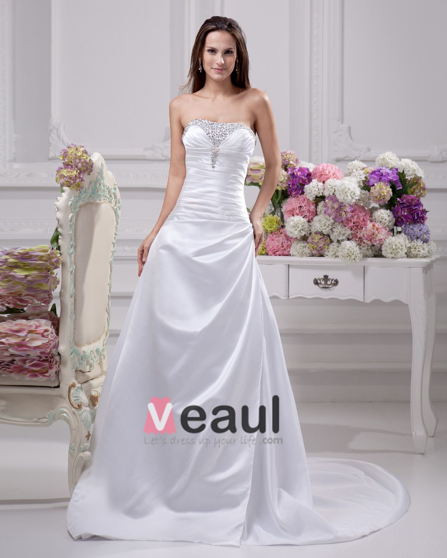 Floor Length Strapless Beading Pleated Satin A Line Wedding Dress