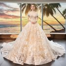 Luxury / Gorgeous Champagne Wedding Dresses 2019 A-Line / Princess Off-The-Shoulder Short Sleeve Backless Appliques Lace Beading Cathedral Train Ruffle