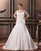 Satin Yarn Ruffle Queen Anne Court Plus Size Bridal Gown Wedding Dresses
