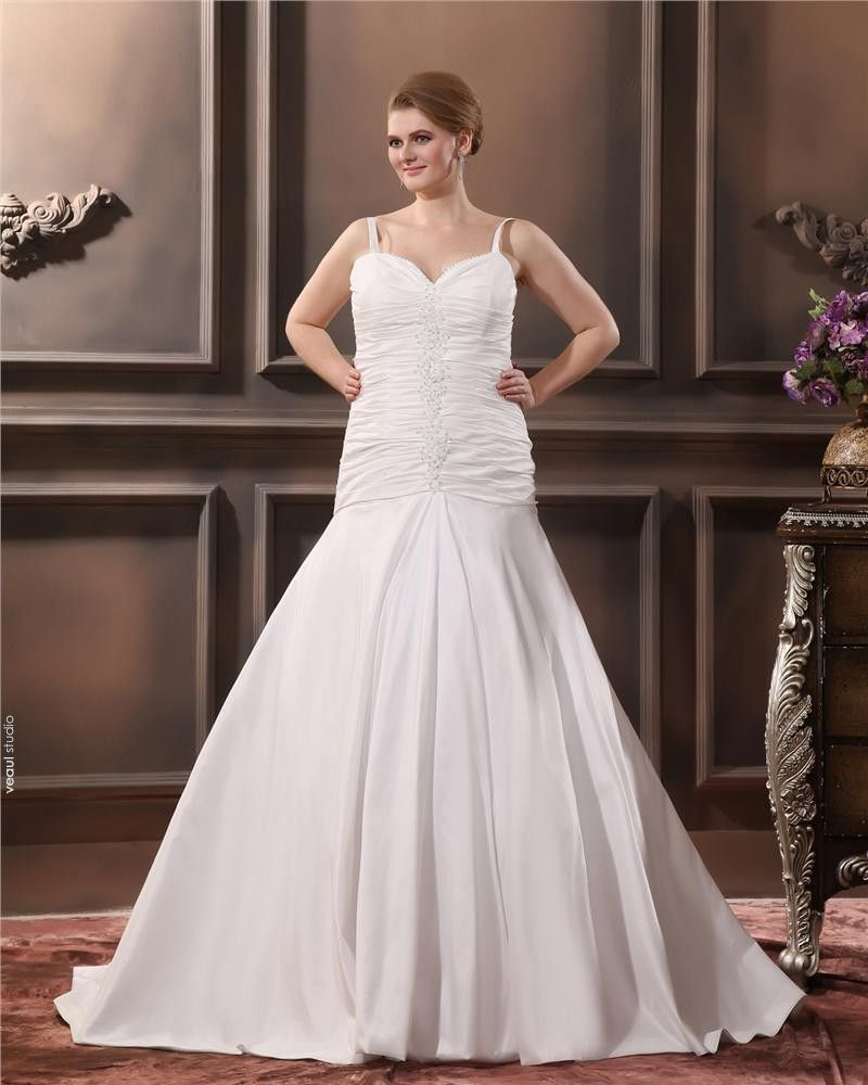 Satin Yarn Ruffle Queen Anne Court Plus Size Bridal Gown Wedding Dresses