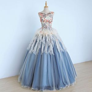 Chic / Beautiful Sky Blue Prom Dresses 2017 Ball Gown Embroidered Sequins Appliques Scoop Neck Backless Sleeveless Ankle Length Formal Dresses