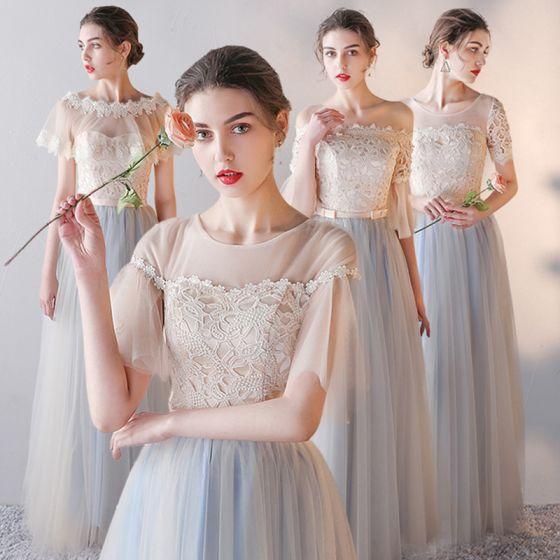 Elegante Champagner Brautjungfernkleider 2019 A Linie Stoffgürtel Applikationen Spitze Lange Rüschen Rückenfreies Kleider Für Hochzeit