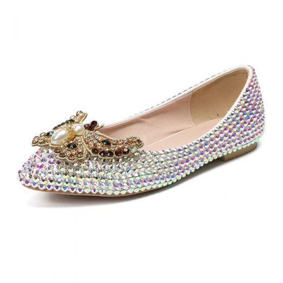 Hermoso Multi-Colors 2019 Rhinestone Perla mariposa Planos Punta Estrecha Zapatos de novia