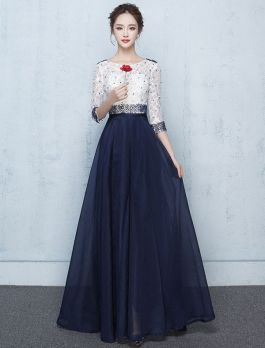 belle robe de bal longue bleu et blanc dentelle robe ceremonie perl e robe de bal robe de. Black Bedroom Furniture Sets. Home Design Ideas