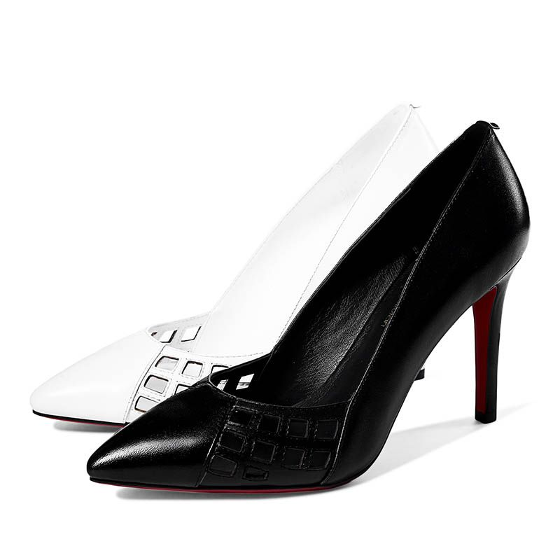 Chic / Beautiful Evening Party Pumps 2017 Hall Leather High Heels Pointed Toe Pumps