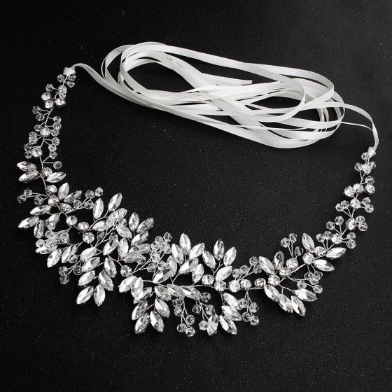 Elegant Silver Headbands Bridal Hair Accessories 2020 Alloy Lace-up Rhinestone Headpieces