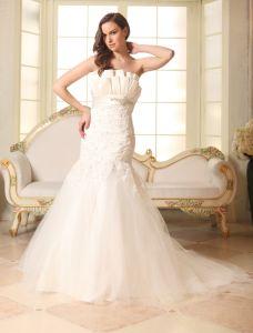 Trumpet /Mermaid Beading Satin Lace Tulle Wedding Dress