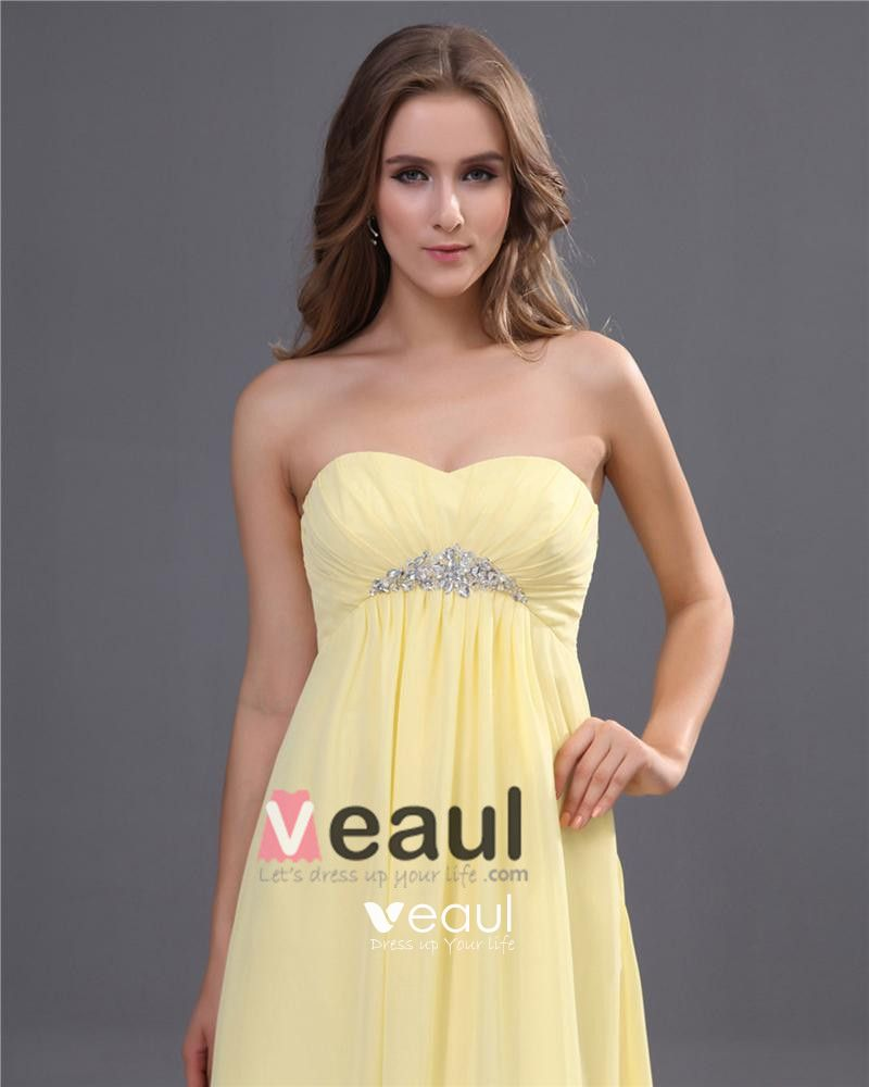 Chiffon Sweetheart Ruffle Floor Length Bridesmaid Dress Gown