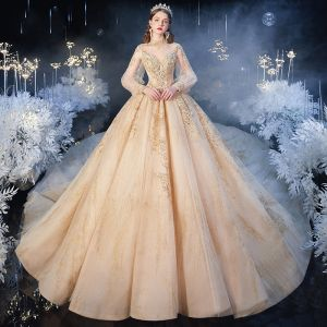 Victorian Style Champagne See-through Wedding Dresses 2020 Ball Gown High Neck Puffy Long Sleeve Backless Appliques Sequins Beading Glitter Tulle Cathedral Train Ruffle