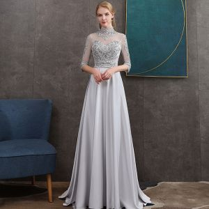 Vintage / Retro Grey Satin See-through Evening Dresses  2020 A-Line / Princess High Neck 1/2 Sleeves Appliques Lace Sash Beading Sweep Train Ruffle Backless Formal Dresses