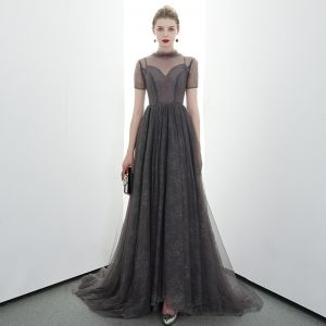 Elegant Grey Black See-through Evening Dresses  2020 A-Line / Princess High Neck Short Sleeve Sweep Train Ruffle Formal Dresses