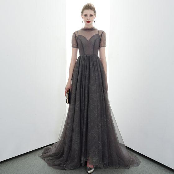 Elegant Grey Black See-through Evening Dresses  2020 A-Line / Princess High Neck Short Sleeve Sweep Train Ruffle Formal Dresses