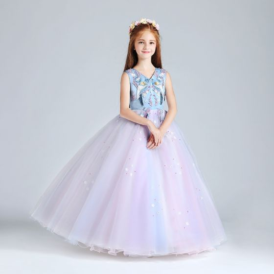 Chic / Beautiful Candy Pink Sky Blue Flower Girl Dresses 2017 Ball Gown V-Neck Sleeveless Embroidered Appliques Flower Pearl Floor-Length / Long Ruffle Wedding Party Dresses