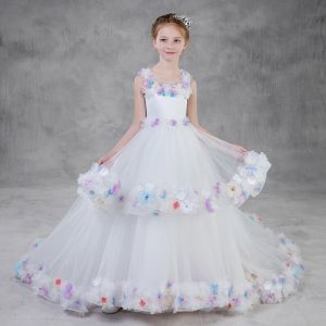 Flower Fairy White Flower Girl Dresses 2018 A-Line / Princess See-through Scoop Neck Sleeveless Appliques Flower Rhinestone Court Train Ruffle Wedding Party Dresses