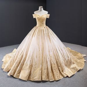 Luxury / Gorgeous Gold Wedding Dresses 2020 Ball Gown Off-The-Shoulder Short Sleeve Backless Beading Glitter Tulle Cathedral Train Ruffle