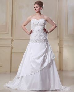 Satin Organza Ruffle Beading Sweetheart Court Plus Size Bridal Gown Wedding Dress