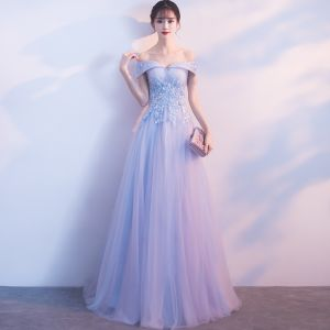 Chic / Beautiful Sky Blue Bridesmaid Dresses 2018 A-Line / Princess Lace Appliques Pearl Off-The-Shoulder Backless Sleeveless Floor-Length / Long Wedding Party Dresses